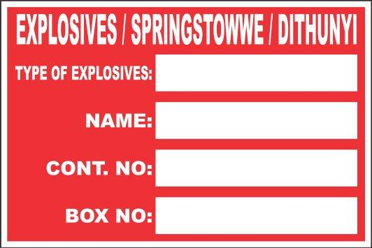 Explosive Box Stickers 200MM x 300MM